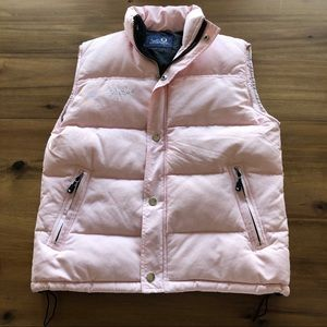 down filled pink puffer vest